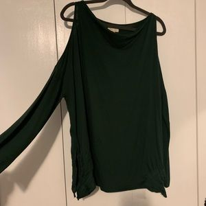 Dark green cold shoulder tunic top // size large